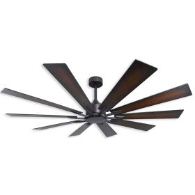 "66"" TroposAir Fusion Oil Rubbed Bronze With Distressed Walnut and Seashore 2-Sided Blades"