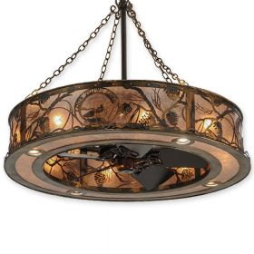 "Meyda Whispering Pines Custom Logo - 147376 - 44""W Up and Downlight Outdoor Chandel-Air Fan - Burnished Antique Copper"