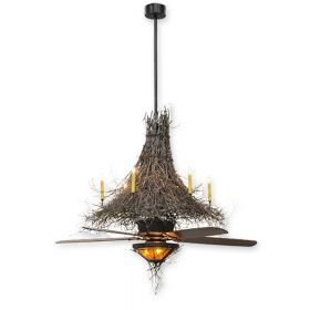 """68"""" Wide Meyda Twigs Timeless Bronze Finish with Timeless Bronze Blades and Light Kit"""