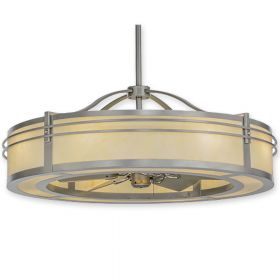 """46""""W Meyda Sargent Brushed Nickel Finish with Brushed Nickel Blades and Light Kit"""