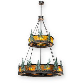 "Meyda Tall Pines - 156087 - 55""W W/Up and Downlights Outdoor Chandel-Air Fan - Wrought Iron"