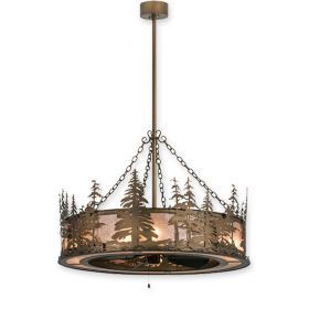 """44"""" Wide Meyda Tall Pines Antique Copper Finish with Antique Copper Blades and Light Kit"""
