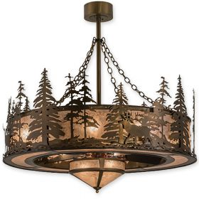 """44""""W Meyda Elk at Dusk Antique Copper Finish with Antique Copper Blades and Light Kit"""