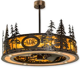 """45""""W Meyda Personalized Tall Pines Copper Vein Finish with Copper Vein Blades and Light Kit"""