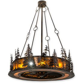 """48""""W Meyda Tall Pines Burnished Antique Copper Finish with Burnished Antique Copper Blades and Light Kit"""