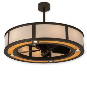 """45"""" Wide Meyda Maplewood Timeless Bronze Finish with Timeless Bronze Blades and Light Kit"""