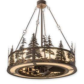 """44"""" Wide Meyda Tall Pines Dark Burnished Antique Copper Finish with Dark Burnished Antique Copper Blades and Light Kit"""
