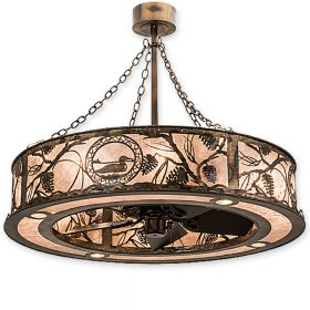 """45""""W Meyda Loon Antique Copper Finish with Antique Copper Blades and Light Kit"""