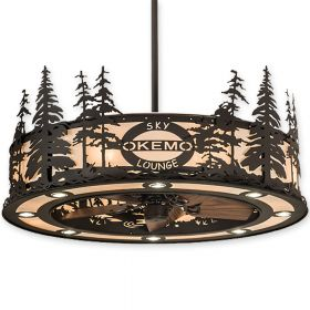 """45"""" Wide Meyda Personalized Okemo Sky Lounge Oil Rubbed Bronze Finish with Oil Rubbed Bronze Blades and Light Kit"""