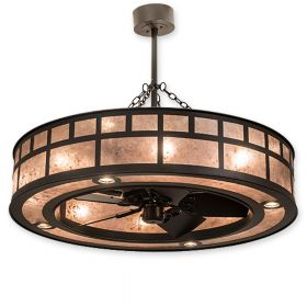 """45"""" Wide Meyda """"T"""" Mission Timeless Bronze Finish with Timeless Bronze Blades and Light Kit"""
