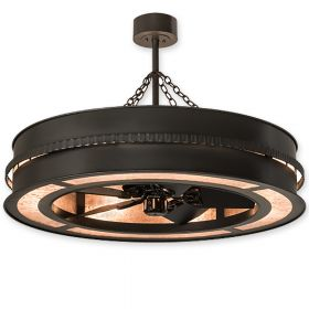 """44"""" Wide Meyda Golden Forge Timeless Bronze Finish with Timeless Bronze Blades and Light Kit"""