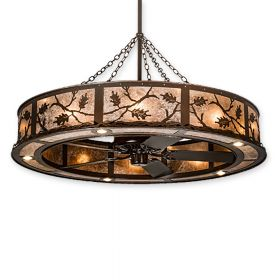"55"" Wide Meyda Oak Leaf Copper Vein Finish with Copper Vein Blades and Light Kit"
