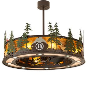 """Meyda Tall Pines Personalized - 199703 - 44"""" Wide Outdoor Chandel-Air Fan - Oil Rubbed Bronze"""