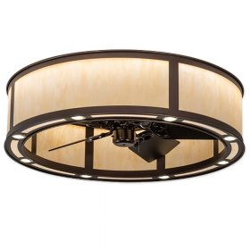 "Meyda Smythe Craftsman - 200967 - 36"" Wide LED Outdoor Chandel-Air Fan - Mahogany Bronze"