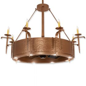 "52"" Wide Meyda Costello Metallic Bronze Finish with Metallic Bronze Blades and Light Kit"