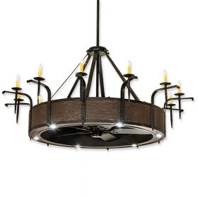 """74"""" Wide Meyda Costello Black Finish with Costello Black Blades and Light Kit"""