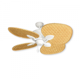 """48"""" Palm Breeze II Tropical Ceiling Fan - Pure White w/ Natural Woven Bamboo"""