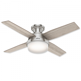 """44"""" Hunter Dempsey Low Profile Brushed Nickel Finish with Light Grey Oak / Natural Wood Reversible Blades and Light Kit"""