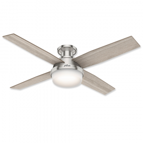 "52"" Hunter Dempsey Low Profile Brushed Nickel Finish with Light Gray Oak / Natural Wood Reversible Blades and Light Kit"
