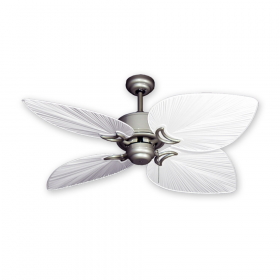 "50"" Bombay Ceiling Fan - Brushed Nickel with Pure White Blades"