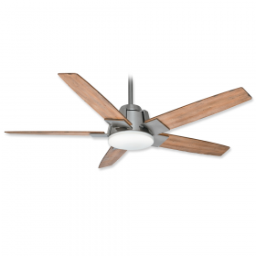 """56"""" Casablanca Zudio Brushed Nickel Finish with White Washed Distressed Oak Blades and Light Kit"""