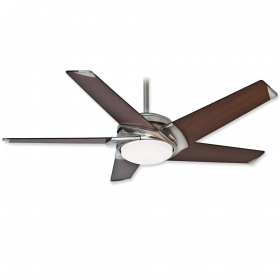 """54"""" Casablanca Stealth Brushed Nickel Finish with Walnut Blades and Light Kit"""