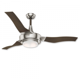 """64"""" Casablanca Perseus Brushed Nickel Finish with Walnut Blades and Light Kit"""