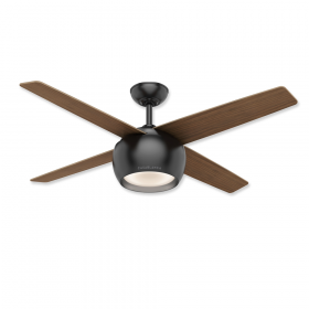 """54"""" Casablanca Valby Matte Black Finish with Eastern Walnut / Natural Maple Reversible Blades and Light Kit"""