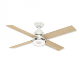 "54"" Casablanca Daphne Fresh White Finish with Rustic Oak / Fresh White Reversible Blades and Light Kit"