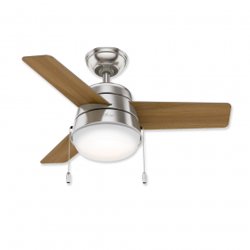 "36"" Hunter Aker Brushed Nickel Finish with American Walnut / Natural Wood Reversible Blades and Light Kit"
