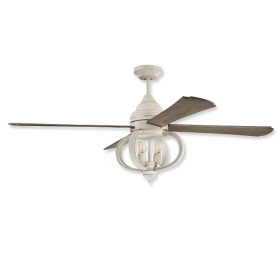 """60"""" Craftmade Augusta Cottage White Finish with Driftwood Blades and Light Kit"""