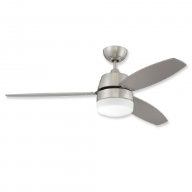 """52"""" Craftmade Beltre Brushed Polished Nickel Finish with Painted Silver/Maple Reversible Blades and Light Kit"""