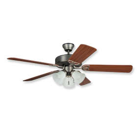 """52"""" Craftmade Deluxe Antique Nickel Finish with Ash / Mahogany Reversible Blades and Light KIt"""