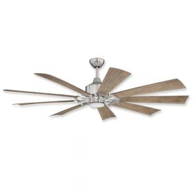 "60"" Craftmade Eastwood Brushed Polished Nickel Finish with Driftwood Blades and Light Kit"