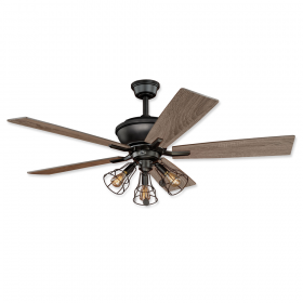 "52"" Vaxcel Clybourn Bronze Finish with Driftwood / Dark Maple Reversible Blades and Light Kit"