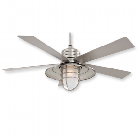 "Minka Aire Rainman F582-BNW - LED - 54"" Ceiling Fan Brushed Nickel Wet"