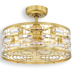 """22"""" Fanimation Klout Dry Indoor Ceiling Fan - FP3070BS - brushed satin brass finish with clear blades and LED light kit"""