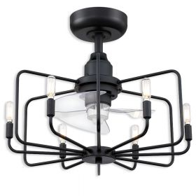 """22"""" Fanimation Influencer Dry Indoor Ceiling Fan - Black finish with Clear Blades with LED light kit"""