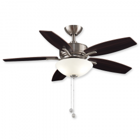 """44"""" Fanimation Aire Deluxe Brushed Nickel Finish with Dark Walnut Blade and Frosted White Glass"""
