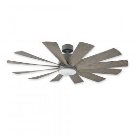 "60"" Modern Forms Windflower Graphite Finish with Weather Gray Blades and Light Kit"
