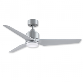 """52"""" Fanimation Triaire Custom Silver Finish with Silver Blades and Light"""