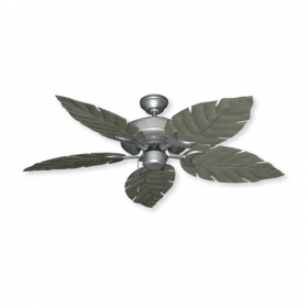 "52"" Raindance Tropical Wet Rated Ceiling Fan - Brushed Nickel / Venetian Driftwood Blades"