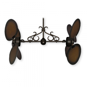 "Twin Star III Ceiling Fan - Oil Rubbed Bronze - 50"" Lg. Oval Distressed Walnut Blades (shown w/ optional scroll)"